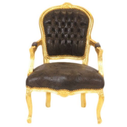 CHAIRS FRANCE BAROQUE STYLE LADY CHAIR WITH ARMRESTS GOLD / SUEDINE #55F3